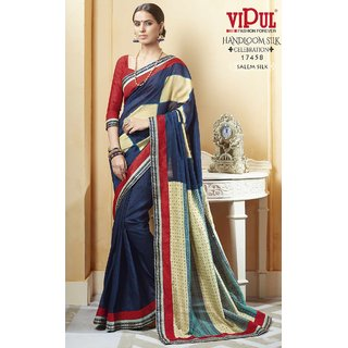 Sudarshan Silks Blue Dupion Silk Self Design Saree With Blouse