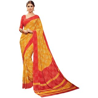 Sudarshan Silks Yellow Crepe Self Design Saree With Blouse