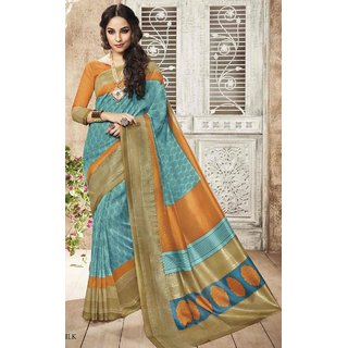 Sudarshan Silks Multicolor Bhagalpuri Silk Self Design Saree With Blouse