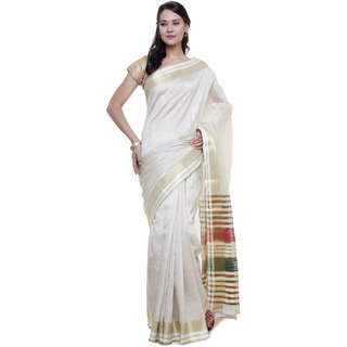 Sudarshan Silks White Self Design Raw Silk Saree with Blouse