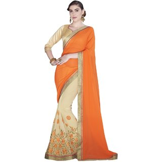 Sudarshan Silks Orange Crepe Self Design Saree With Blouse