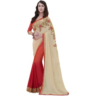 Sudarshan Silks Cream Crepe Self Design Saree With Blouse
