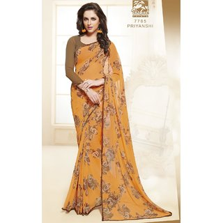 Sudarshan Silks Orange Georgette Embroidered Saree With Blouse