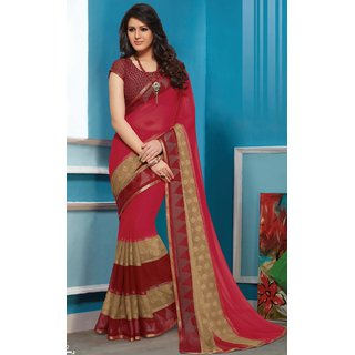 Sudarshan Silks Multicolor Geometric Print Synthetic Saree with Blouse