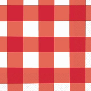 Amscan Disposable 2-Ply Beverage Napkins in American Summer Red Gingham Print (16 Pack), 5 x 5