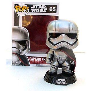 Christmas gift, Star wars 65, Captain Phasma, Vinyl bobble head, silver, 2 go