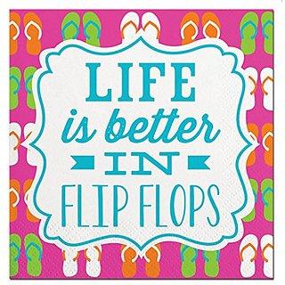 20ct Life Flip Flops Beverage Napkin F137178 Slant Collections