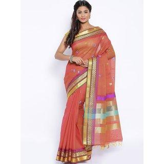 Sudarshan Silks Pink Cotton Self Design Saree With Blouse