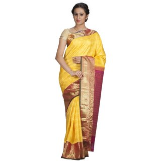 Sudarshan Silks Yellow Geometric Print Silk Saree with Blouse