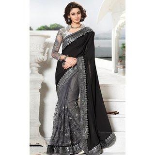Sudarshan Silks Black Geometric Print Net Saree with Blouse
