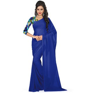 Sudarshan Silks Blue Georgette Self Design Saree With Blouse