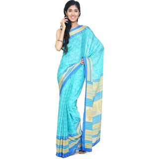 Sudarshan Silks Blue Polyester Self Design Saree With Blouse