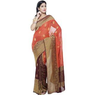 Sudarshan Silks Multicolor Self Design Chiffon Saree with Blouse