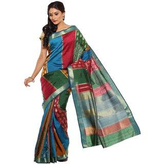 Sudarshan Silks Multicolor Self Design Raw Silk Saree with Blouse