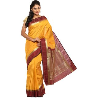 Sudarshan Silks Yellow Self Design Raw Silk Saree with Blouse
