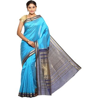 Sudarshan Silks Blue Tussar Silk Self Design Saree With Blouse