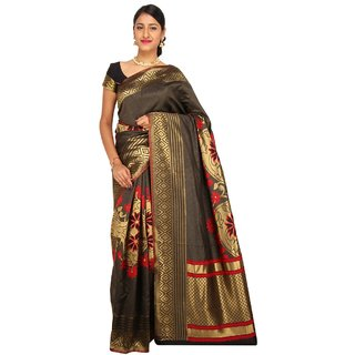 Sudarshan Silks Brown Raw Silk Printed Saree With Blouse