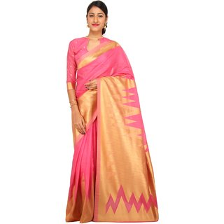 Sudarshan Silks Pink Raw Silk Printed Saree With Blouse