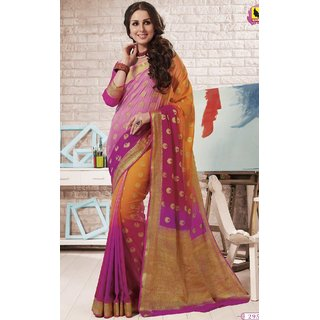 Sudarshan Silks Multicolor Georgette Self Design Saree With Blouse