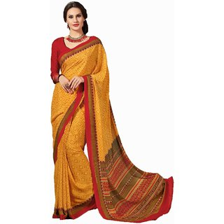 Sudarshan Silks Yellow Self Design Cotton Saree with Blouse