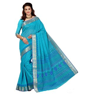 Sudarshan Silks Blue Cotton Geometric Saree With Blouse