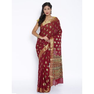 Sudarshan Silks Maroon Raw Silk Self Design Saree With Blouse