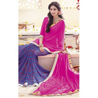 Sudarshan Silks Pink Georgette Self Design Saree With Blouse