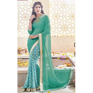 Sudarshan Silks Beige Self Design Georgette Saree with Blouse