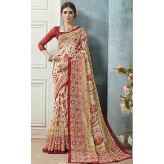 Sudarshan Silks Beige Linen Printed Saree With Blouse