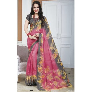 Sudarshan Silks Multicolor Crepe Printed Saree With Blouse