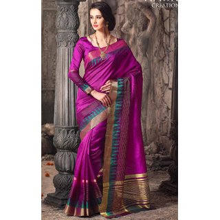 Sudarshan Silks Purple Raw Silk Self Design Saree With Blouse