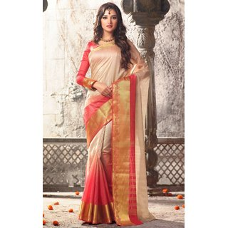 Sudarshan Silks Pink Raw Silk Self Design Saree With Blouse