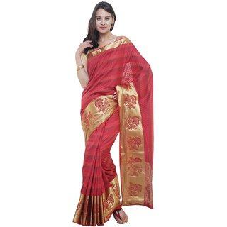 Sudarshan Silks Maroon Raw Silk Self Design Saree With Blouse