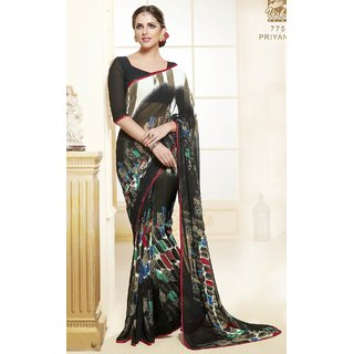 Sudarshan Silks Black Georgette Embroidered Saree With Blouse