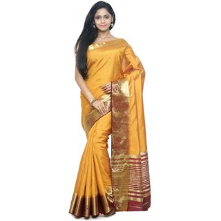Sudarshan Silks Gold Self Design Raw Silk Saree with Blouse