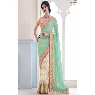 Sudarshan Silks Green Net Geometric Saree With Blouse