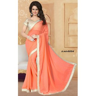 Sudarshan Silks Pink Georgette Geometric Saree With Blouse