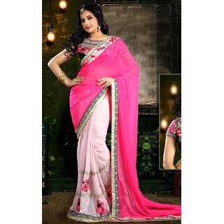 Sudarshan Silks Pink Geometric Print Georgette Saree with Blouse
