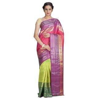 Sudarshan Silks Multicolor Silk Geometric Saree With Blouse