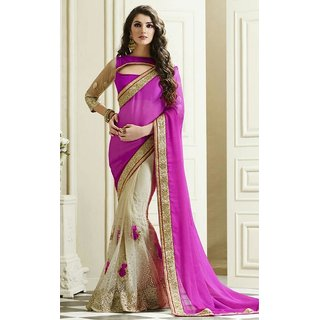 Sudarshan Silks Purple Chiffon Geometric Saree With Blouse