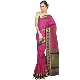 Sudarshan Silks Purple Self Design Tussar Silk Saree with Blouse