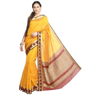 Sudarshan Silks Yellow Tussar Silk Self Design Saree With Blouse