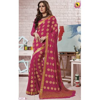 Sudarshan Silks Pink Self Design Georgette Saree with Blouse