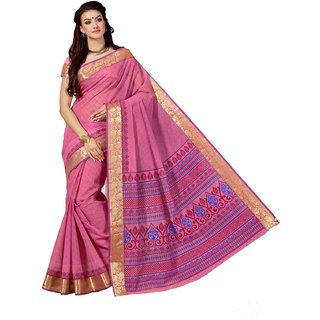 Sudarshan Silks Pink Cotton Geometric Saree With Blouse