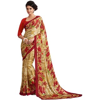 Sudarshan Silks Multicolor Crepe Geometric Saree With Blouse