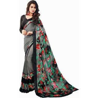 Sudarshan Silks Grey Crepe Self Design Saree With Blouse