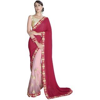 Sudarshan Silks Red Self Design Crepe Saree with Blouse