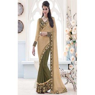 Sudarshan Silks Grey Net Geometric Saree With Blouse