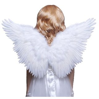 FashionWings (TM) Childrens White Butterfly Style Costume Feather Angel Wings Halo