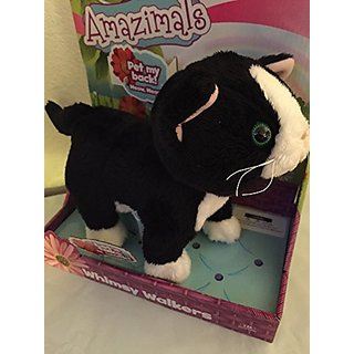Amazimals Plush Whimsy Walkers Talking Electronic Black White Kitty Cat Kitten